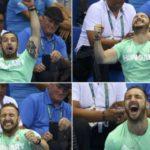 Esposo hace súper barra a su esposa nadadora en Rio 2016