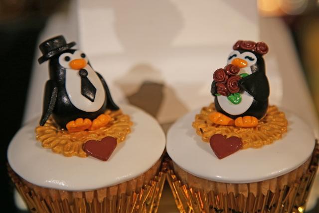 cupcakes de pingüinos para la boda