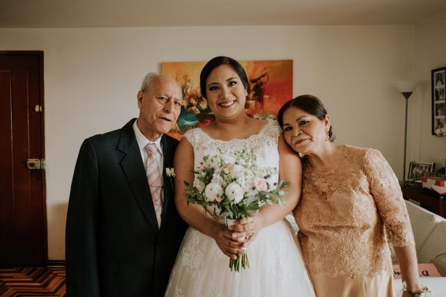 foto familiar de la novia