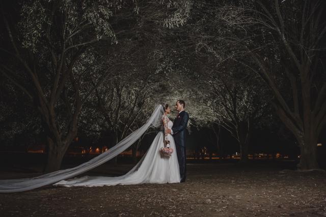 Los novios en el jardín de noche, después de la boda